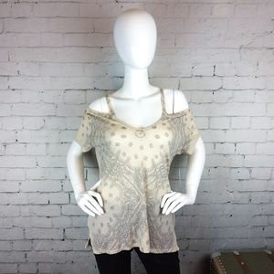 NWT Lucky Brand boho paisley cold-shoulder top